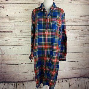 Lands' End Plaid Flannel Nightgown Sz L 14-16